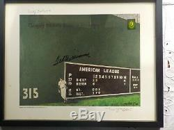16x20 FRAMED ART PRINT OF TED WILLIAMS GREEN MONSTER, AUTOGRAPHED, AUTHENTICATED