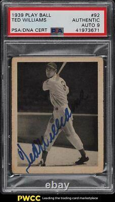1939 Play Ball #92 Ted Williams ROOKIE Signed RC PSA DNA Auth with Mint 9 AUTO