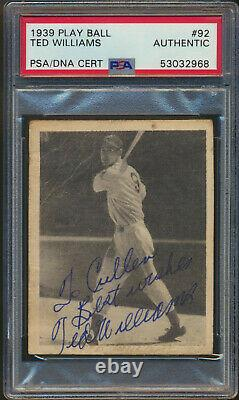 1939 Play Ball TED WILLIAMS Rookie Boston Red Sox Autographed PSA DNA Authentic
