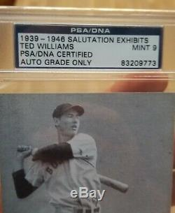 1939 Ted Williams Signed Salutation Exhibits Rookie Card PSA MINT 9 STUNNING