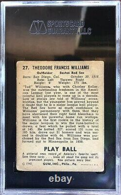 1940 Play Ball Ted Williams #27 Graded Sgc 2