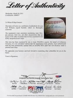 1940's Ted Williams Playing Days Single Signed American League Baseball PSA DNA