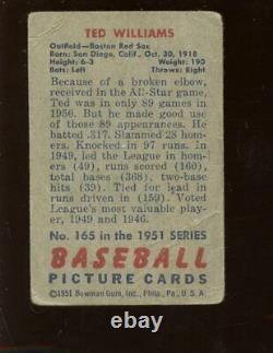 1951 Bowman Baseball Card #165 Ted Williams