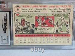 1956 Topps #5 Ted Williams Signed Card Red Sox Hof Bas Beckett 9 Psa Beautiful