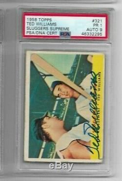 1958 Topps 321 Ted Williams Psa/dna Auto 9 Signed Autograph
