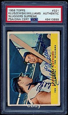 1958 Topps Ted Kluszewski & Ted WIlliams #321 PSA withDual Autograph PSA/DNA Auto