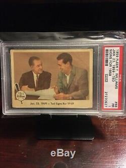 1959 Fleer Ted Williams #68 PSA 1 Ted Signs for Red Sox Card With 4 Raw Cards
