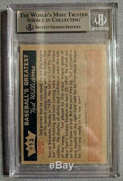 1959 Fleer Ted Williams Autographed Card #13 Red Sox Beckett BAS Auto