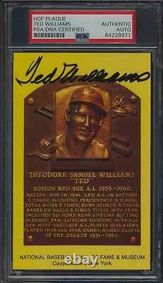 1964 to Date HOF Plaque Ted Williams Autographed PSA/DNA Authentic 59830