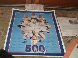 500 HOME RUN POSTER Autographed JSA Certified Mickey Mantle Ted Williams