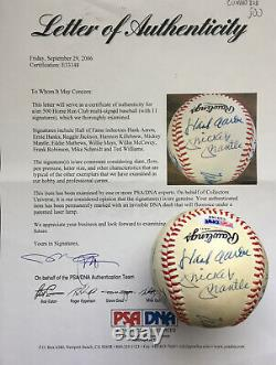 500 Home Run Club Autographed AL Ball, Mickey Mantle, Ted Williams, 11 SIG, PSA