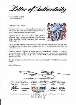 500 Home Run Poster Autograph / Signed Ted Williams, Hank Aaron, Banks PSA / DNA