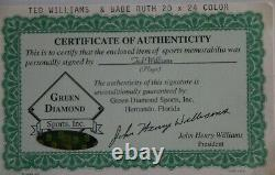 Authentic Ted Williams (Autographed) Babe Ruth Photo Green Diamond COA 20x24