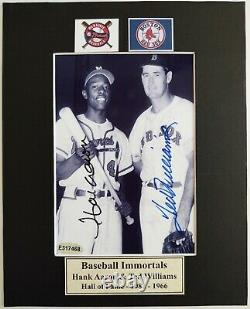 Hank Aaron/Braves and Ted Williams/Red Sox Sign Auto Photo Matted 8x10 WithCOA