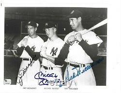 Joe DiMaggio, Mickey Mantle, Ted Williams Autographed 8x10 Baseball Photo PSA COA
