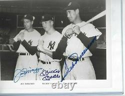 Joe DiMaggio, Mickey Mantle, Ted Williams Autographed 8x10 Photo PSA Letter Yankee