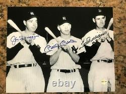 Joe DiMaggio, Mickey Mantle, & Ted Williams Autographed 8x10 Photo with COA