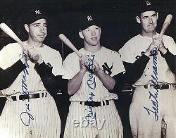 MICKEY MANTLE JOE DiMAGGIO TED WILLIAMS BOLD, CLEAN, LARGE SIGNED PHOTO WithCOA