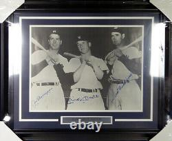 Mickey Mantle, DiMaggio & Ted Williams Autographed Framed 16x20 Photo JSA Y38556