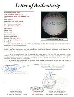 Mickey Mantle Joe Dimaggio Ted Williams Signed Autographed Baseball Jsa Y52512