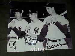 Mickey Mantle, Joe Dimaggio and Ted Williams autographed 8X10