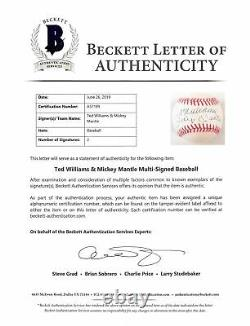 Mickey Mantle & Ted Williams Authentic Signed Oal Baseball BAS #A57189