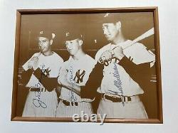 Mickey Mantle, Ted Williams & Joe DiMaggio Signed 8x10 Autograph with COA