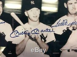 Mickey Mantle Ted Williams Joe Dimaggio Framed 8x10 signed Autographed