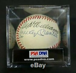 Mickey Mantle Ted Williams PSA/DNA 500 Home Run Club HOF Signed Auto Baseball