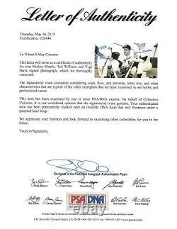 Mickey Mantle Yogi Berra Ted Williams signed 11x14 photo framed 3 auto PSA LOA
