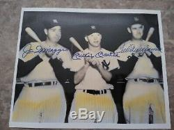 Mickey Mantle signed photo joe Dimaggio signed Ted Williams signed 8x10 in 1990