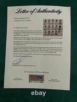 Perez Steele Celebration Uncut Sheet Signed Ted Williams Yaz More Psa Loa Rare
