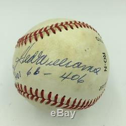 Rare Ted Williams HOF 1966.406 Batting Ave. Signed Inscribed Baseball JSA COA