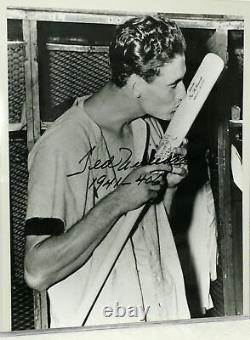 SCARCE TED WILLIAMS AUTOGRAPHED RED SOX PHOTO with 1941-406 ADDED IN HIS HAND