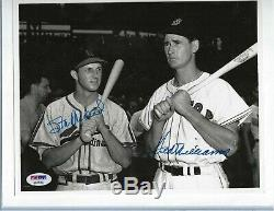 Stan Musial Cardinals & Ted Williams Autographed Baseball 8x10 Photo PSA Letter