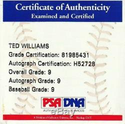 Stunning Ted Williams Single Signed AL Baseball PSA DNA Graded MINT 9