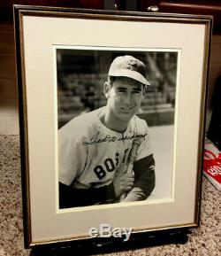 TED WILLIAMS AUTOGRAPHED 11x14 PHOTO GREAT POSED SHOT YOU NEVER SEE RED SOX