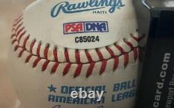 TED WILLIAMS SIGNED AUTOGRAPHED AL BASEBALL INSCRIBED 9 (Jersey #) PSA RED SOX