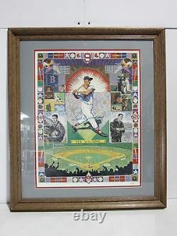 TED WILLIAMS SIGNED AUTOGRAPHED FRAMED RED SOX 20x24 LITHOGRAPH JSA #B69494