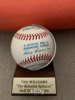 TED WILLIAMS Signed Autographed Baseball plus Display