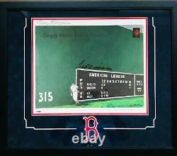 TED WILLIAMS Signed Framed 16x20 Lithograph TEDDY BALLGAME PSA/DNA Green Diamond