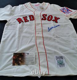 TED WILLIAMS Signed Mitchell & Ness Red Sox 1939 Centennial Patch Jersey HOF GAI