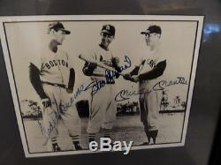 Ted WIlliams, Stan Musial, Mickey Mantle Autographed Matted & Framed 8 x 10 COA