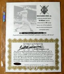 Ted Williams 521 Hr Signed Auto Autograph 16x20 Estate Green Diamond Gd
