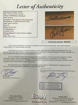 Ted Williams And Fred Lynn Autographed Bat Fenway Park JSA COA LOA