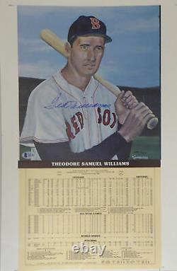 Ted Williams Autographed 12.5x19 Career Stats Photo Red Sox Beckett 159539