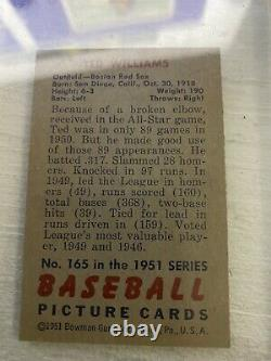 Ted Williams Autographed 1951 Bowman Card