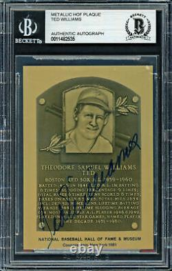 Ted Williams Autographed 1981 Metallic HOF Plaque Card Red Sox Beckett 11482535