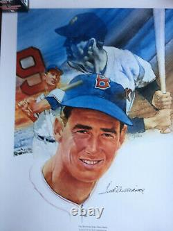 Ted Williams Autographed And Storied Limited Edition Lithograph By Cliff Sphon