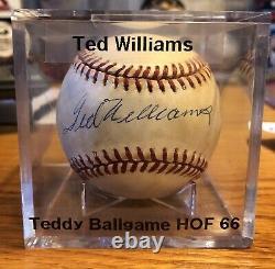Ted Williams Autographed Baseball with COA HOF 66